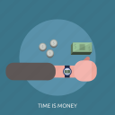 clock, hand, money, time, time is money icon