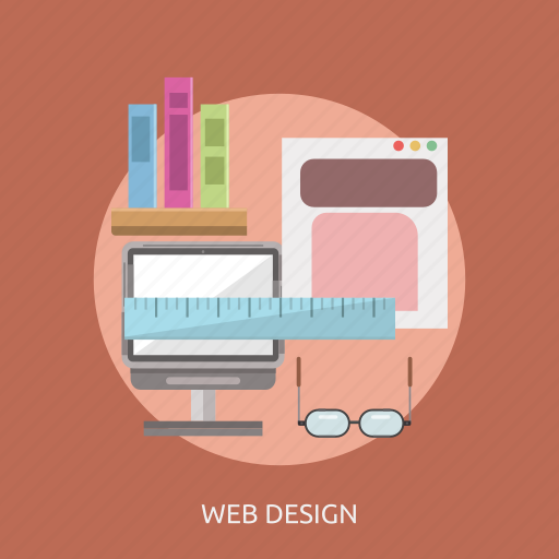 book, computer, glasses, ruler, web design icon