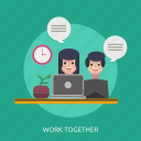 clock, laptop, sprout, time, work together icon