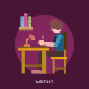 book, chari, lamp, pencil, student, table, writing icon