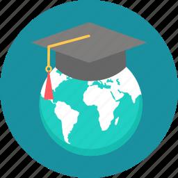 egraduate, global, globe, graduate, international, planet, worldwide icon
