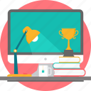 desk, table, books, desktop, lamp, trophy, study icon