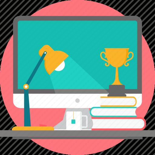 books, desk, desktop, lamp, study, table, trophy icon