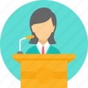 dais, girl, lecture, mike, podium, speech, student icon