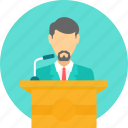 announcemnt, communication, dais, lecture, mike, podium, speech icon