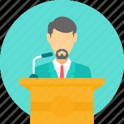 announcemnt, communication, dais, lecture, mike, podium, speech icon