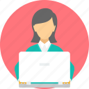 e-learning, elearning, laptop, reading, student, trainer, working icon