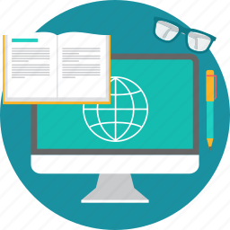 desk, destop, elearning, learning, reading, seo, spects icon