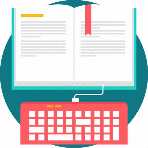 bookmark, e learning, ebook, elearning, keyboard, reading, text icon