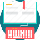 ebook, education, eeducation, keyboard, learning, online, studying icon