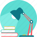 books, desk, lamp, learning, light, study, table icon