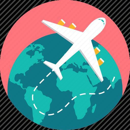 aeroplane, aircraft, airplane, education tourism, flight, tour, travel icon