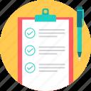 list, checklist, topics, paper, cardboard, topic, sheet