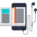 audio, book, digital, ebook, education, mobile, phone icon
