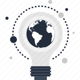 big, bulb, energy, idea, imagination, light, world icon
