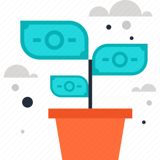 expand, flower, growth, investment, money, nature, plant icon