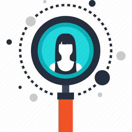 find, human, magnifier, professional, profile, resources, search icon