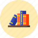 books, knowledge, library, reading, school, study, university icon