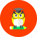 college, education, knowledge, owl, read, student, study icon