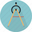 arc, architect, compass, drawing tool, geometry, instrument, tool icon