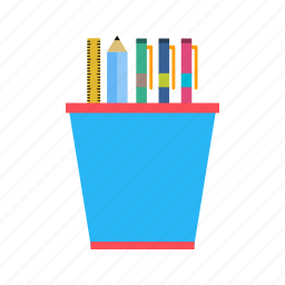 pen, pencil, ruler, stationery, tool icon