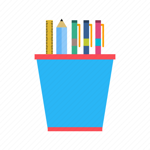 pen, pencil, ruler, stationery icon