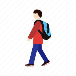 school, student, walking to school icon