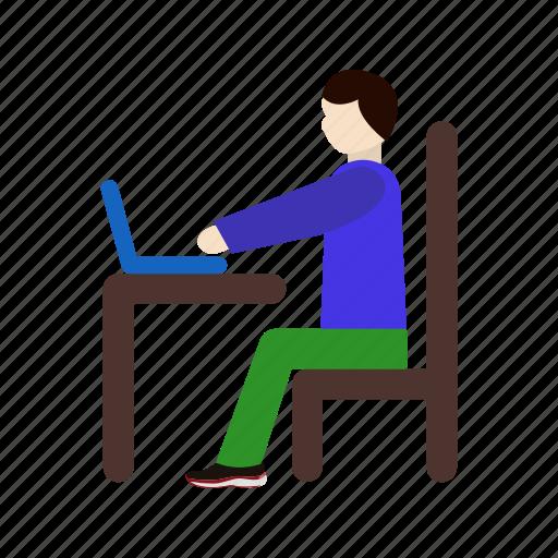 using laptop, work, working on laptop icon
