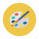 art, brush, color, paint, painting, palette, tools icon