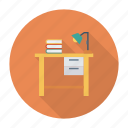 computer, desk, furniture, light, study, table, work icon