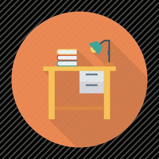 computer, desk, furniture, light, study, table, work icon