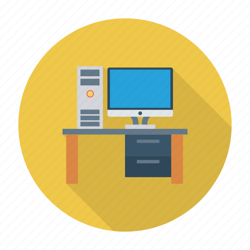computer, desk, device, office, power, table, technology icon