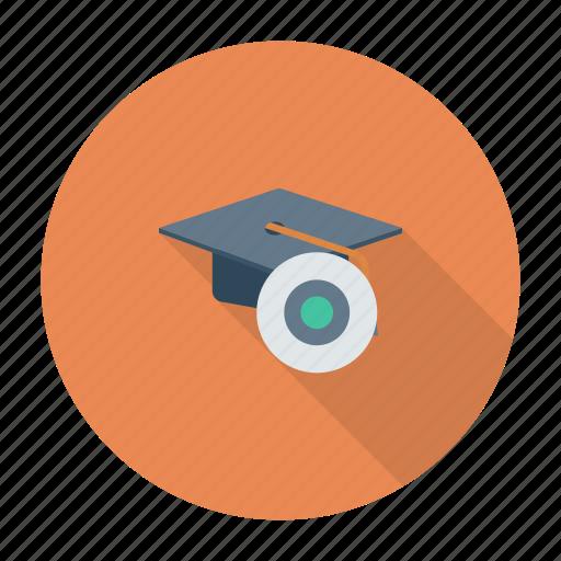 disk, education, graduation, hat, physics, school, science icon