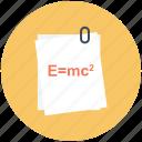 einstein's formula, emc, emc2, physics, physics formula, theory icon icon