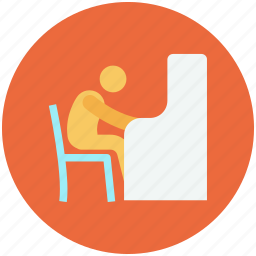chair, furniture, lab, school, student, student chair icon, user icon
