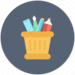pen box, pencil container, pencil holder, pencil jar, stationery icon icon