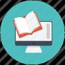book, computer, graduation, online education, online graduation, online study icon icon