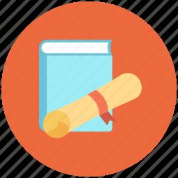 book, book with degree, bookmark icon, degree, diary, diary book icon