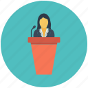 education, meeting, speech, student, teacher icon icon