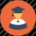 graduate, graduate student, postgraduate, student, university student icon icon