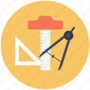 architecture, architecture tools, compass, drawing, engineer, geometry, tool icon