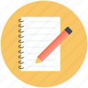 edit, message, note, notepad, pad icon, pen, pencil icon