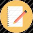 message, note, notepad, pad icon, pen, pencil, edit