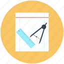 scale, compasses, tool, paper, trace icon, design, dividers