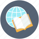 globe, book with world, book, diary, earth, diary book icon, world