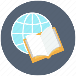 book, book with world, diary, diary book icon, earth, globe, world icon