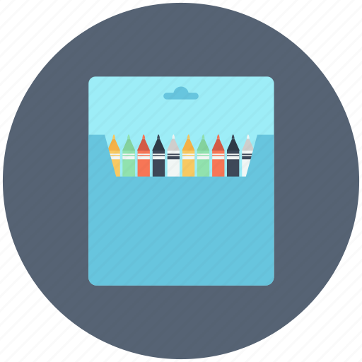 box, colour, paintbox, pencil, red, school, white icon icon
