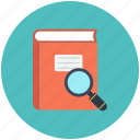 book, education, explore, learning, reading, research, search icon, study icon