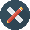 drafting, geometry, maths, ruler and pencil, sketching icon icon