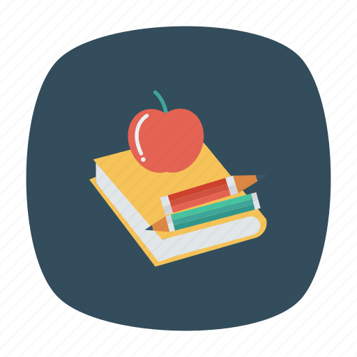 agenda, apple, book, education, office, pencil, writing icon